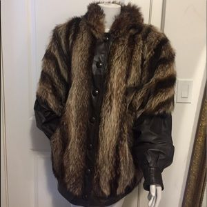 Ladies fur and leather jacket